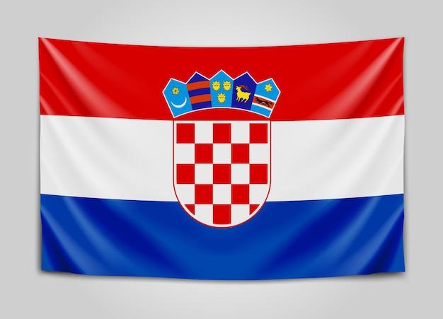 Подвешенный флаг хорватии. республика хорватия. хорватский