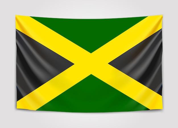 Подвешенный флаг ямайки. ямайка.