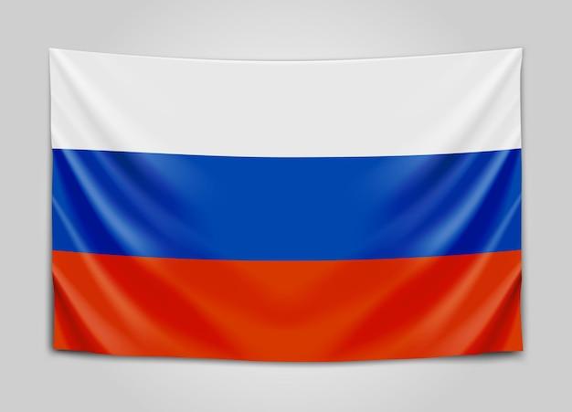 Подвешенный флаг россии. российская федерация. национальный флаг.