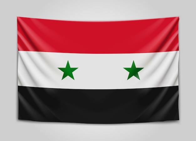 시리아의 국기를 걸려. 시리아 아랍 공화국. 국기.