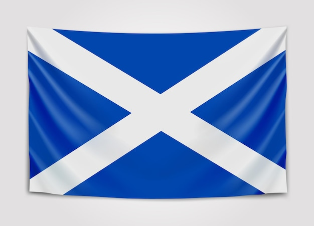 Hanging flag of scotland. scotland.