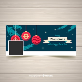 Hanging flat balls christmas facebook cover