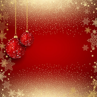 Hanging glittery baubles on a gold confetti background