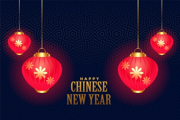 Hanging glowing chinese lamps for new year decoration