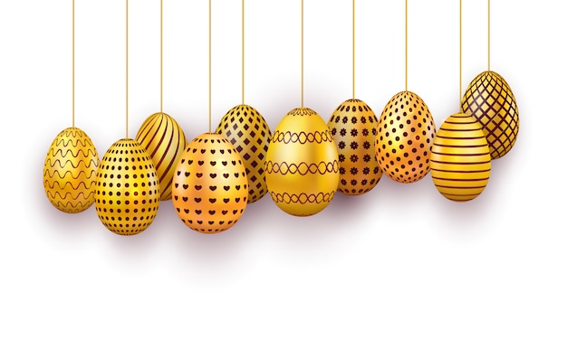 Hanging gold easter eggs set. 3d realistic egg isolated on white background.