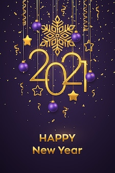 Hanging golden metallic numbers 2021 with shining snowflake, 3d metallic stars, balls and confetti on purple background