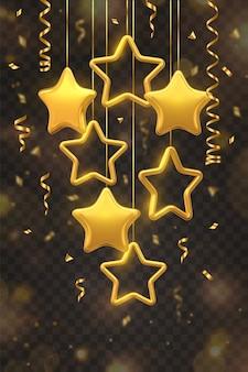 透明な背景に分離された紙吹雪と金色の星をぶら下げます。クリスマスのグリーティングカード。
