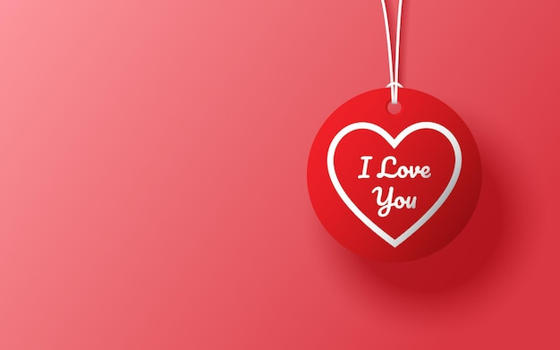 Hanging heart shape with i love you word