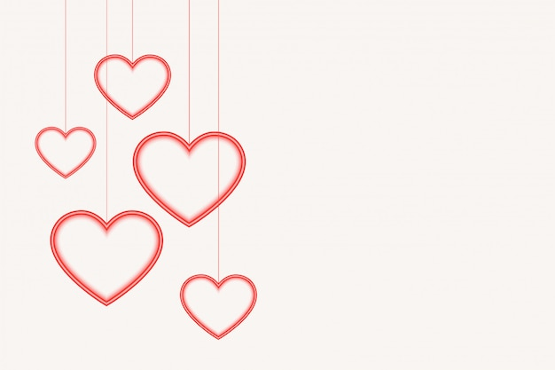 Hanging hearts background with text space