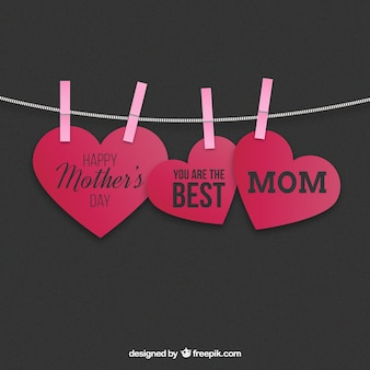 Hanging hearts mothers day card