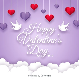Hanging hearts valentine background