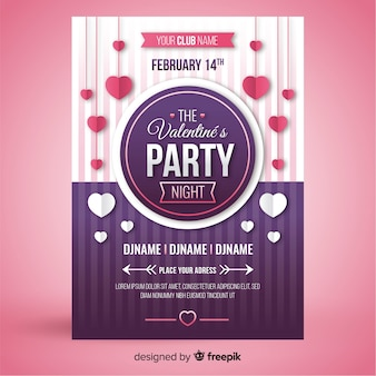 Hanging hearts valentine party poster