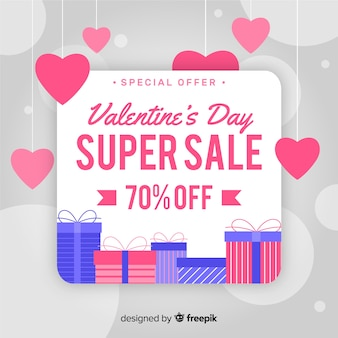 Hanging hearts valentine sale background