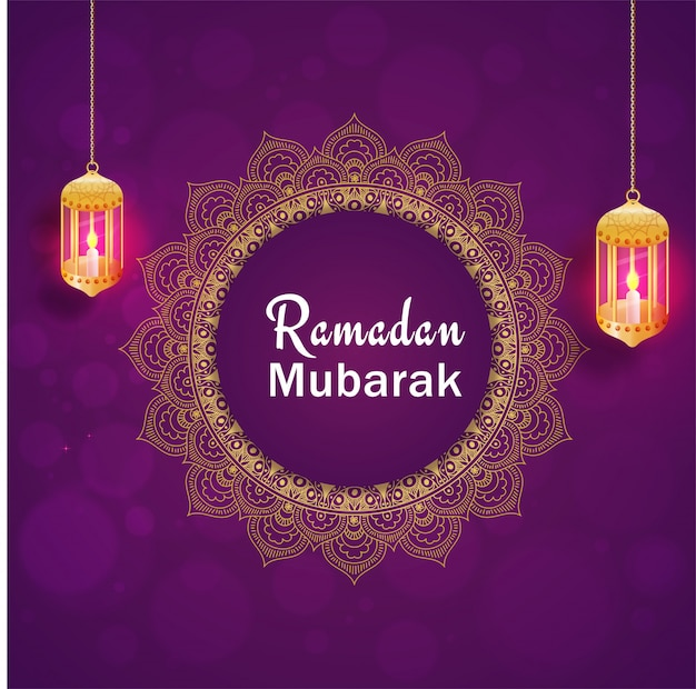 Hanging illuminated lanterns and text ramadan mubarak on purple background.