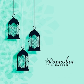 Hanging islamic lamps decoration ramadan kareem background