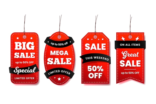 Hanging label collection in red and black ribbons