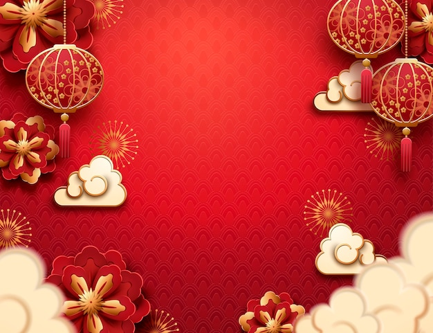 Hanging lantern and clouds in paper art on red background