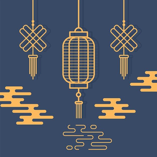 吊り提灯と飾りオリエンタル要素装飾イラストラインデザイン