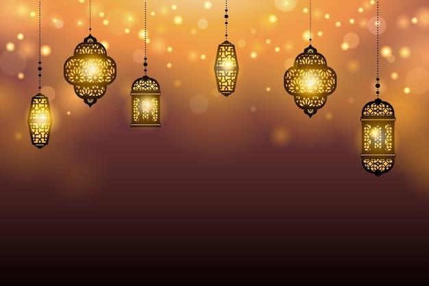 Hanging lanterns on  background