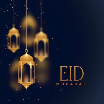Hanging lanterns eid festival background