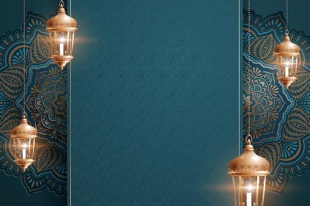 コピースペースと青い美しい唐草模様の背景に提灯をぶら下げ