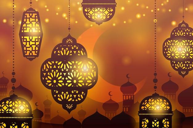 モスクのシルエットの背景に提灯をぶら下げ