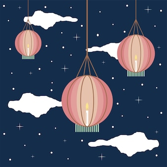 Hanging lanterns in the sky