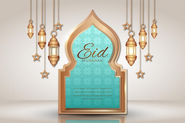 Hanging lanterns and stars realistic eid mubarak