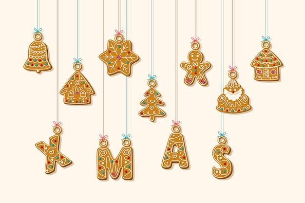 교수형 편지와 진저 쿠키. 진저 브레드 하우스와 흰색 바탕에 진저 브레드 남자와 크리스마스 문구. .