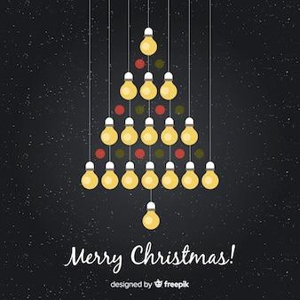 Hanging light bulb christmas tree background