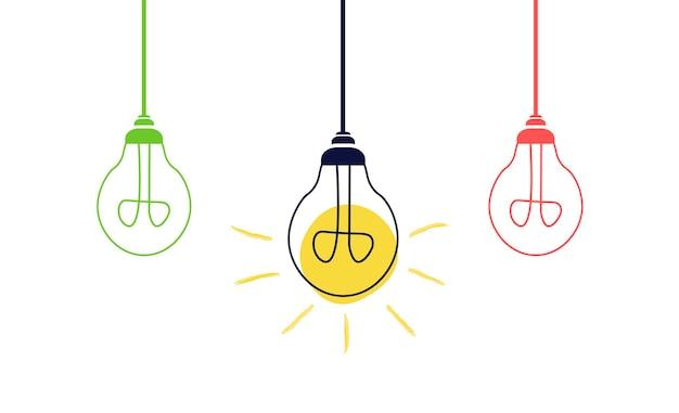 白い背景に電球をぶら下げます。創造的なアイデアやリーダーシップの概念。フラットスタイルのベクトル図です。
