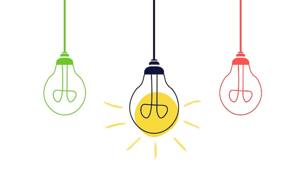 Hanging light bulbs on a white background. creative idea or leadership concept. flat style vector illustration.