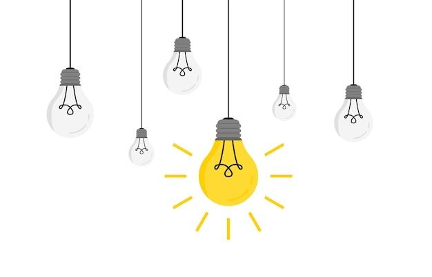 あなたのデザインのための輝く1つのベクトルイラストで電球をぶら下げます。アイデアの概念を持つトレンディなフラットベクトル電球アイコン