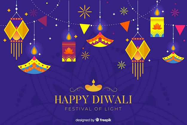 Hanging lights flat diwali background