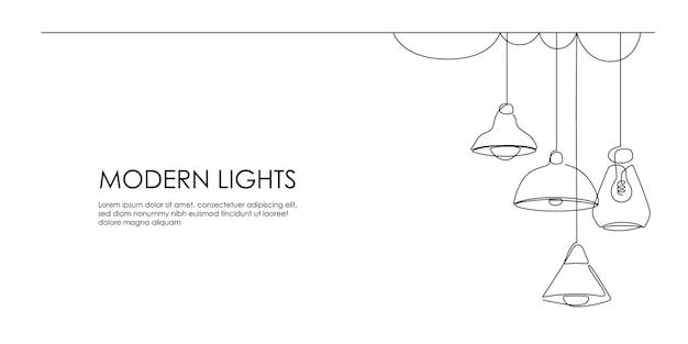 매달린 로프트 램프와 세련된 전등갓