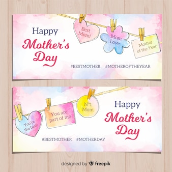 Hanging messages mother's day watercolor banner