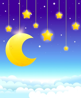 ぶら下がる月と星、明るい夜空