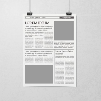 Hanging newspaper concept
