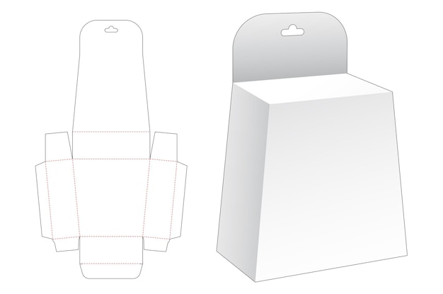 Hanging obelisk packaging die cut template