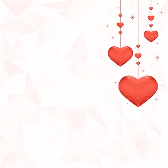 Hanging orange hearts background