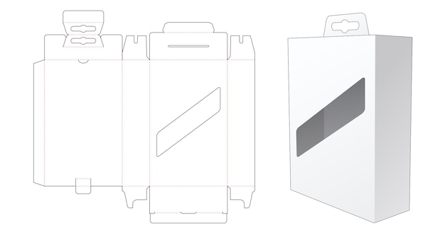 Hanging packaging box with display window and hang hole die cut template