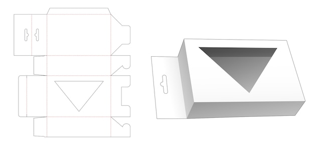 Hanging packaging box with triangular window die cut template