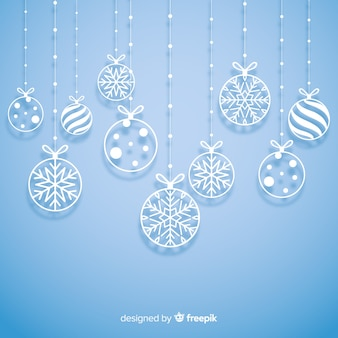 Hanging paper balls christmas background