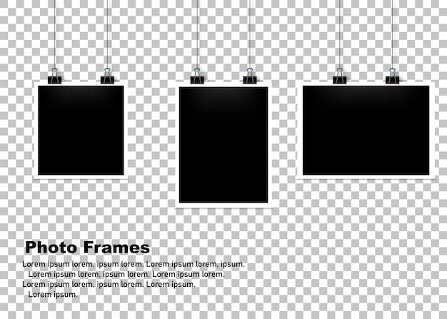 Hanging photo frame set isolated background