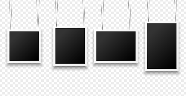 Hanging photo frames in various sizes