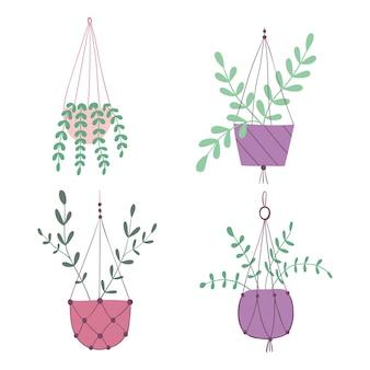 ぶら下がっている植物鉢植えの植物観葉植物手描きイラストフラットベクトルイラスト