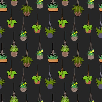 Hanging pots with plants seamless pattern