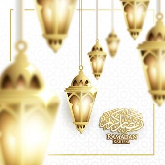 Hanging ramadan lantern & crescent moon background in blurry concept vector