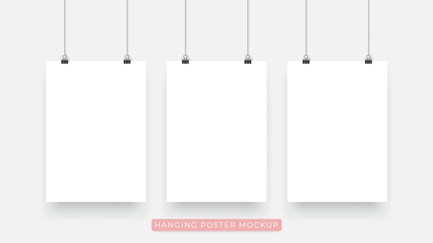 Hanging realistic 3d poster mockup