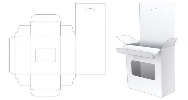 Hanging retail box with window die cut template